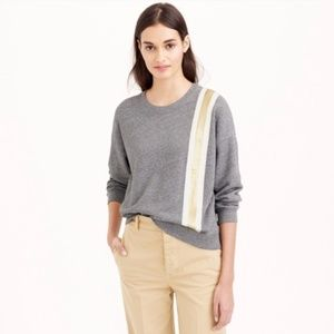 J. Crew Metallic Stripe Gray Sweatshirt